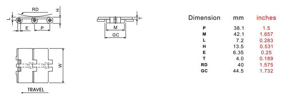 Thông số kỹ thuật chung của băng tải xích nhựa 820